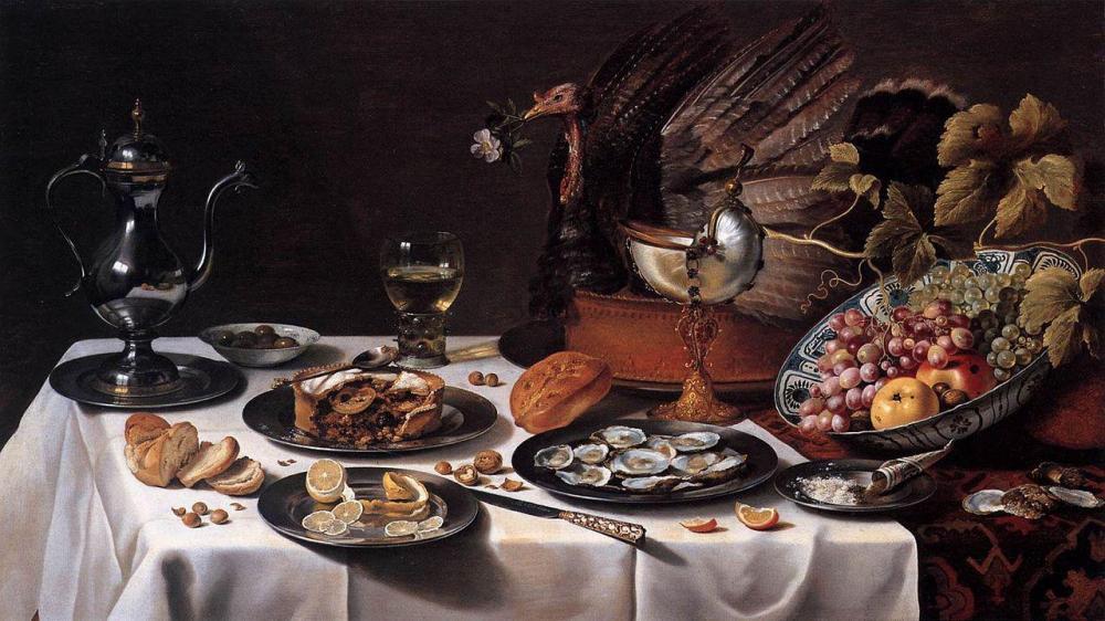 Pieter Claesz Natura morta con tacchino XVII secolo